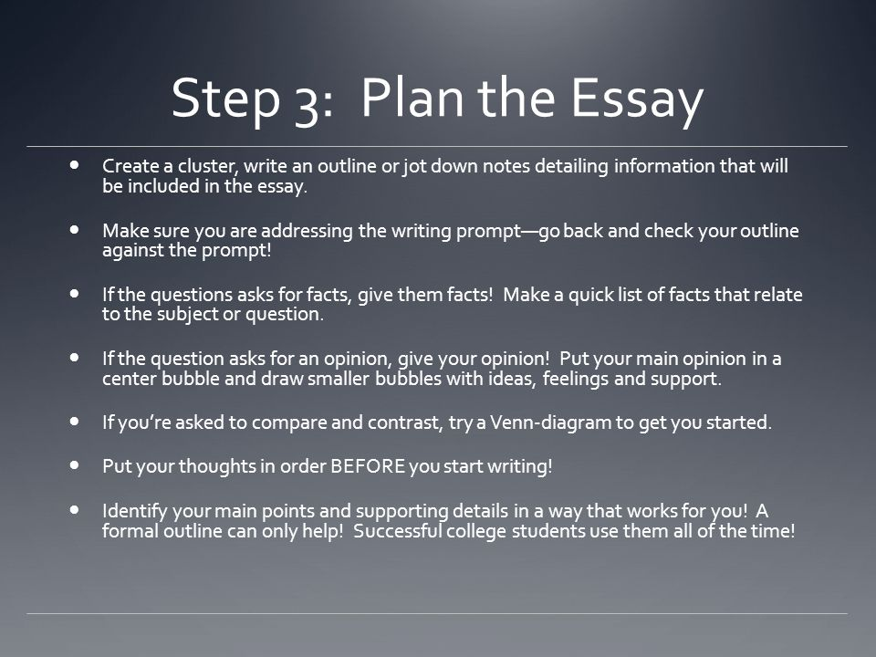 Step 3: Plan the Essay Create a cluster, write an outline or jot down notes detailing information that will be included in the essay.