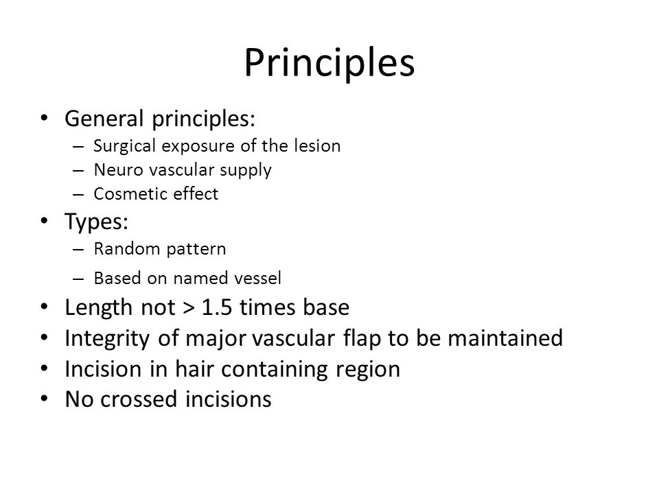 Principles General principles: Types: Length not > 1.5 times base