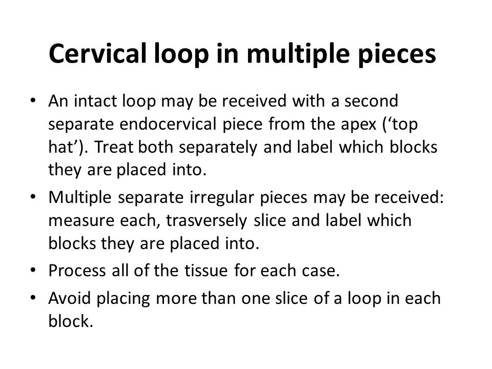 Cervical loop in multiple pieces