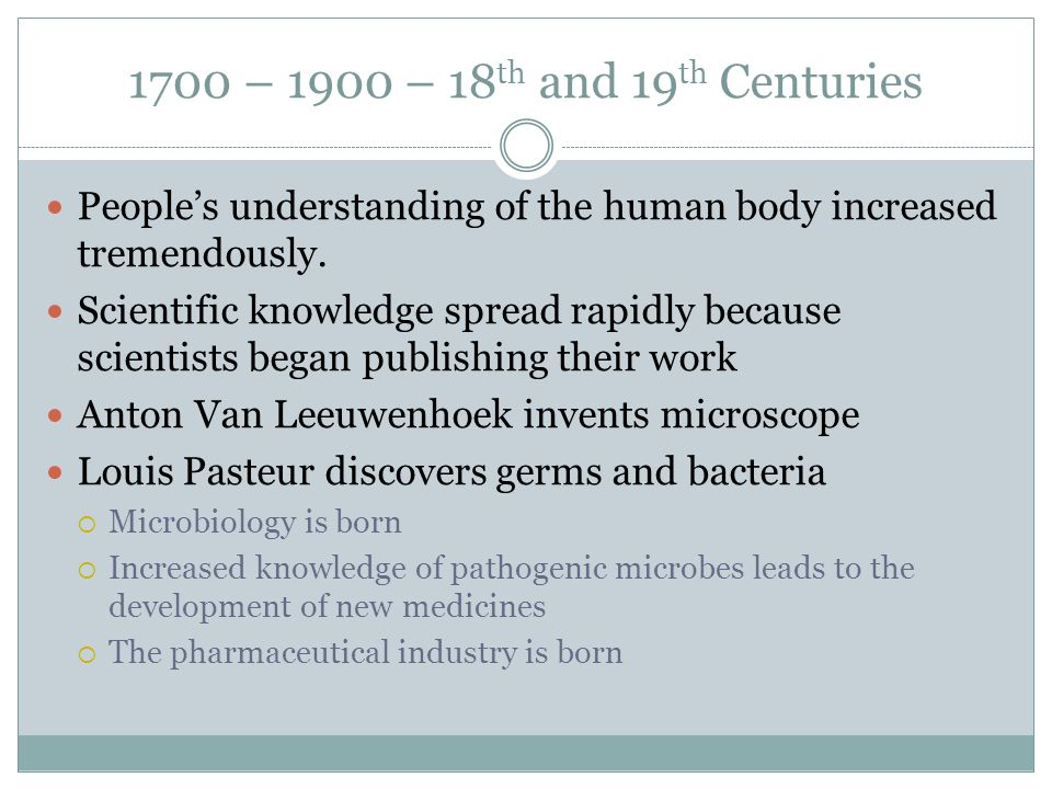 1700 – 1900 – 18th and 19th Centuries People's understanding of the human body increased tremendously.