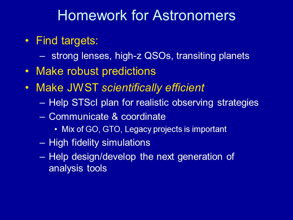 Homework for Astronomers
