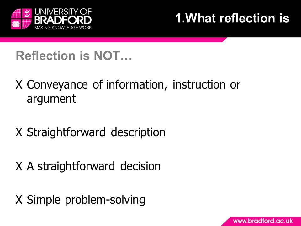 1.What reflection is Reflection is NOT…