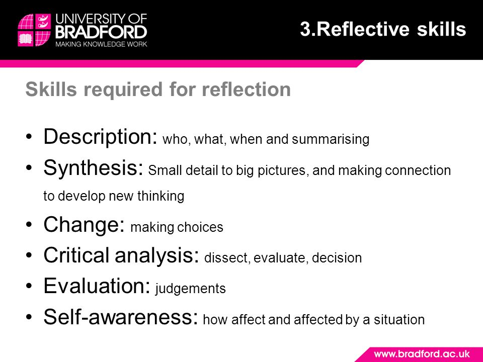 Skills required for reflection