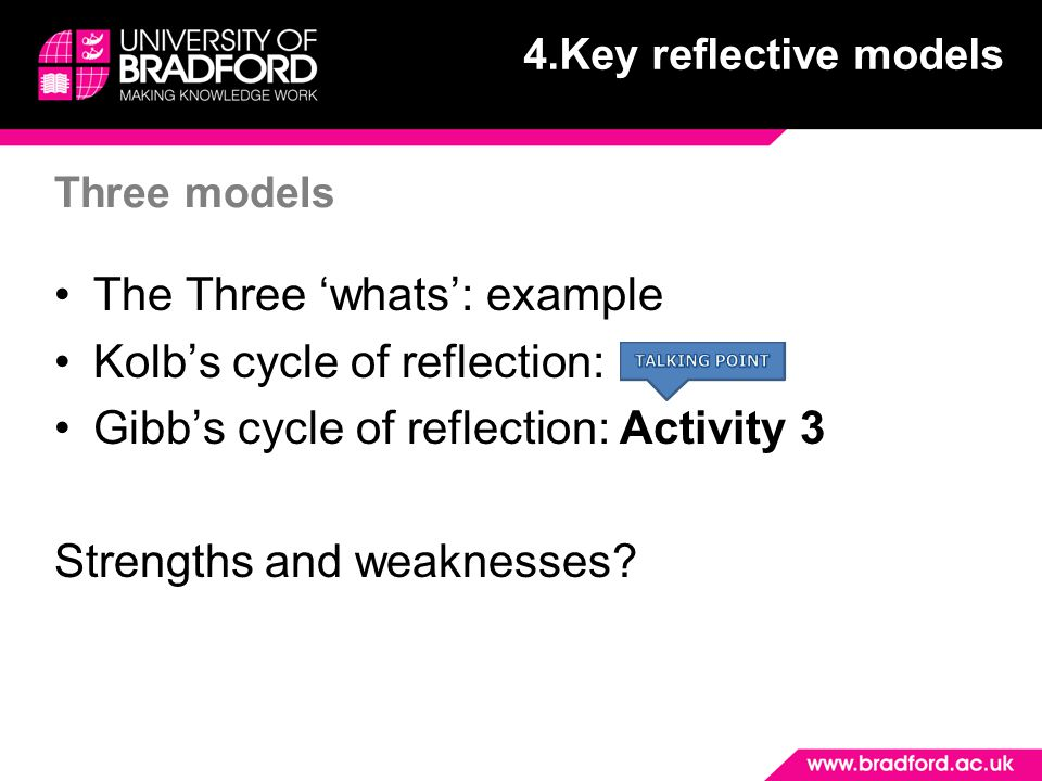 The Three 'whats': example Kolb's cycle of reflection:
