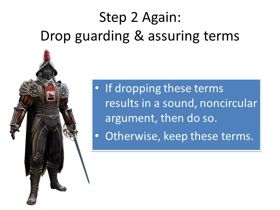 Step 2 Again: Drop guarding & assuring terms