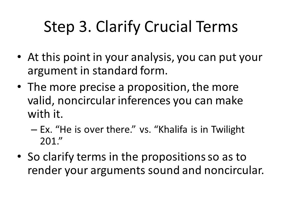 Step 3. Clarify Crucial Terms