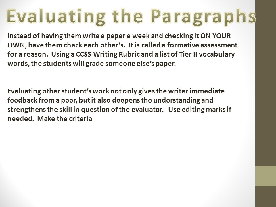 Evaluating the Paragraphs