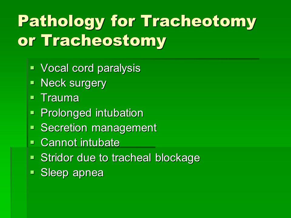 Pathology for Tracheotomy or Tracheostomy