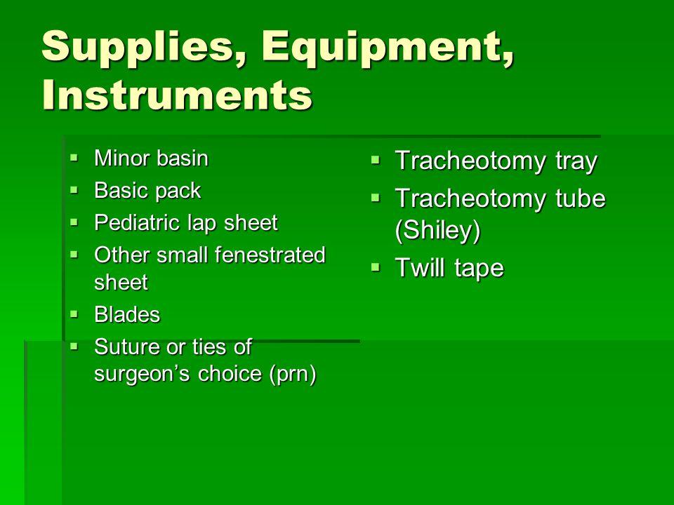 Supplies, Equipment, Instruments