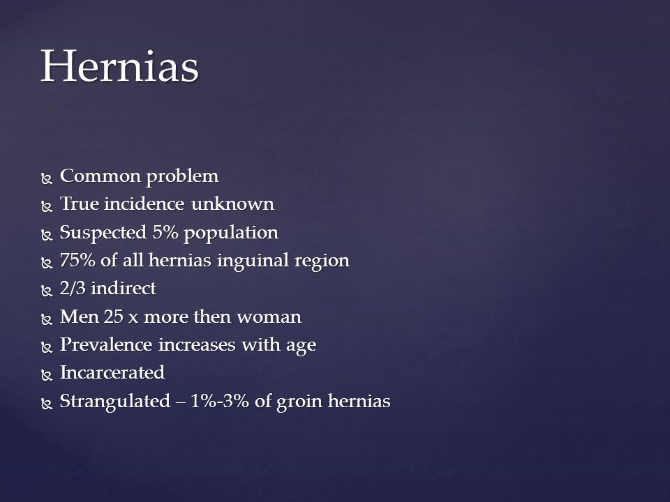 Hernias Common problem True incidence unknown Suspected 5% population