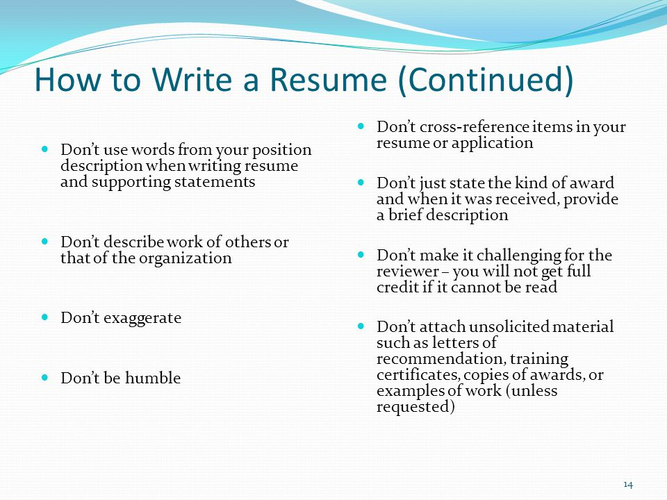 how to write a resume continued