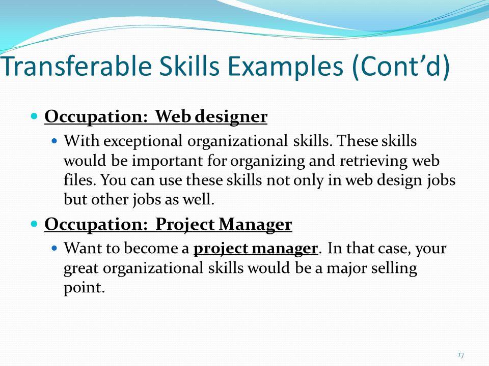 Transferable Skills Examples (Cont'd)