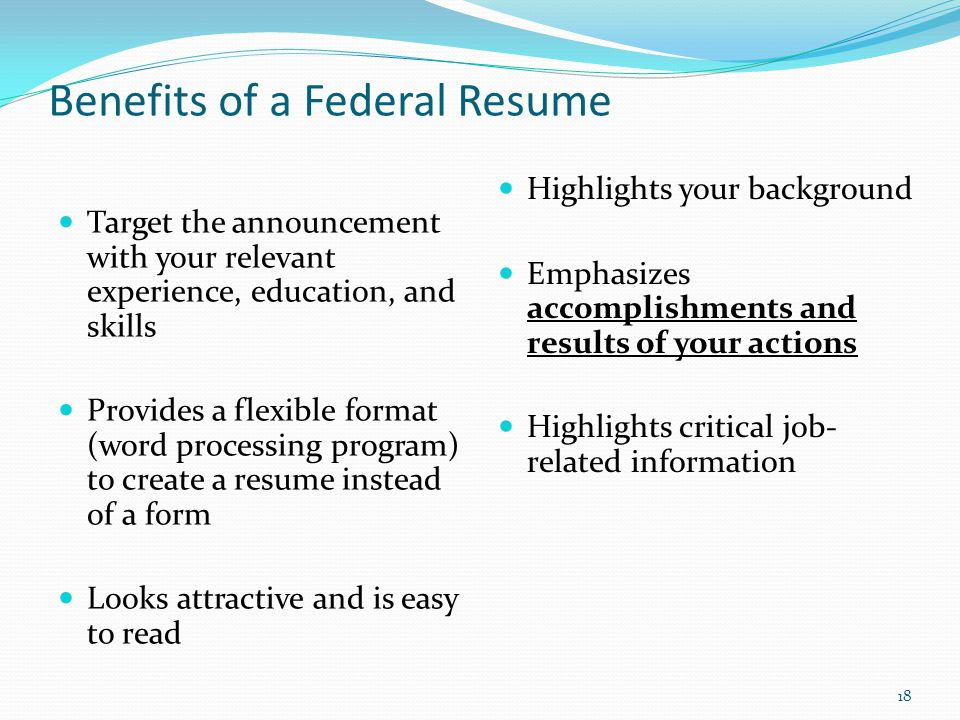 Benefits Of A Federal Resume