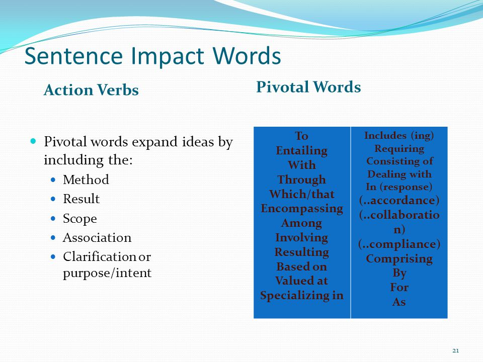 Sentence Impact Words Pivotal Words Action Verbs