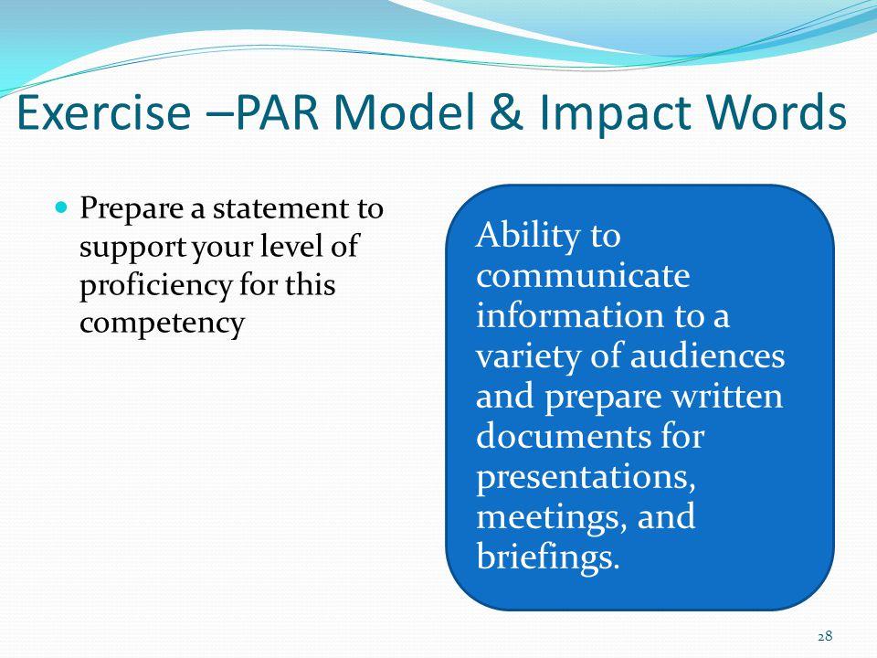 Exercise –PAR Model & Impact Words