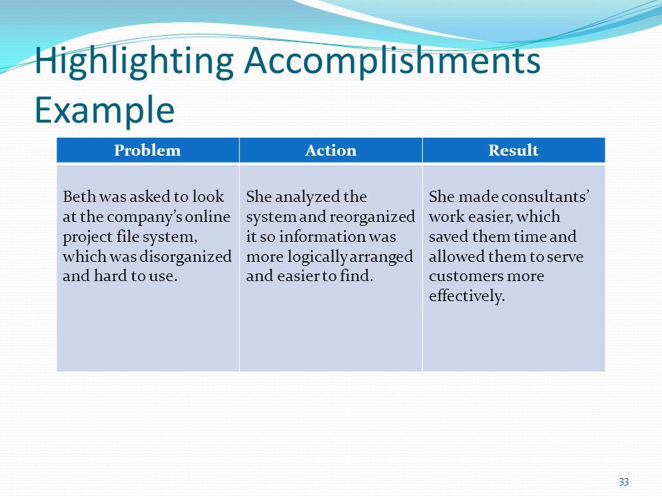 Highlighting Accomplishments Example