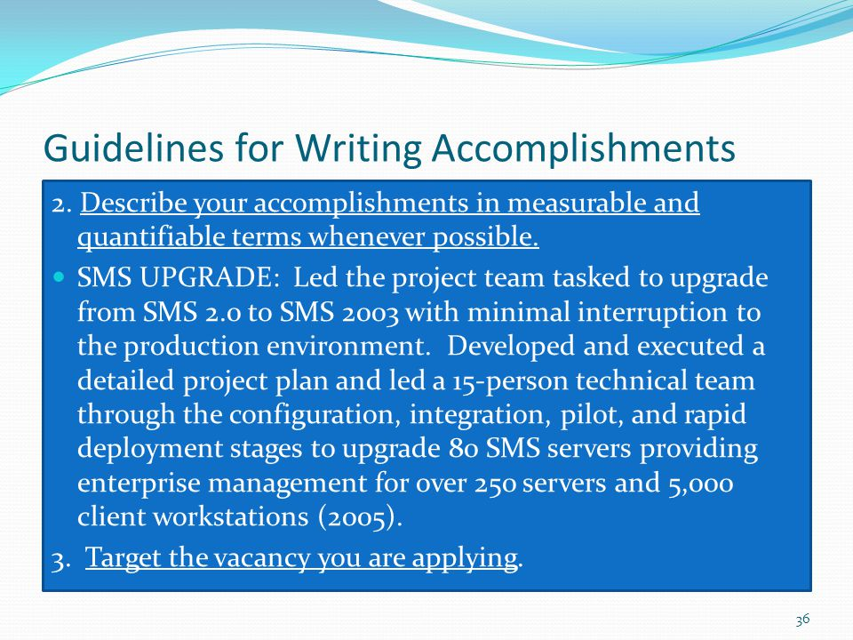 Guidelines for Writing Accomplishments
