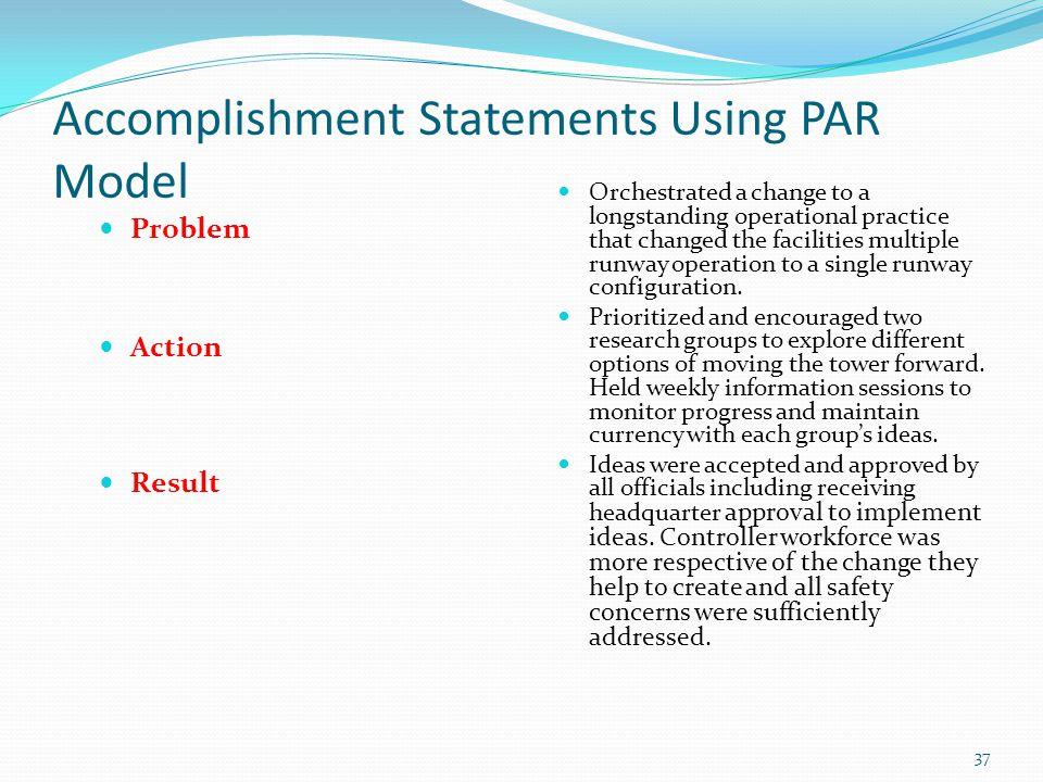 Accomplishment Statements Using PAR Model