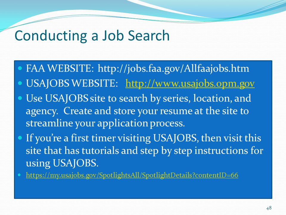 Conducting a Job Search
