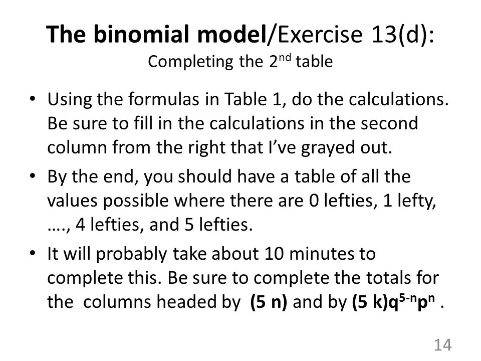 The binomial model/Exercise 13(d): Completing the 2nd table