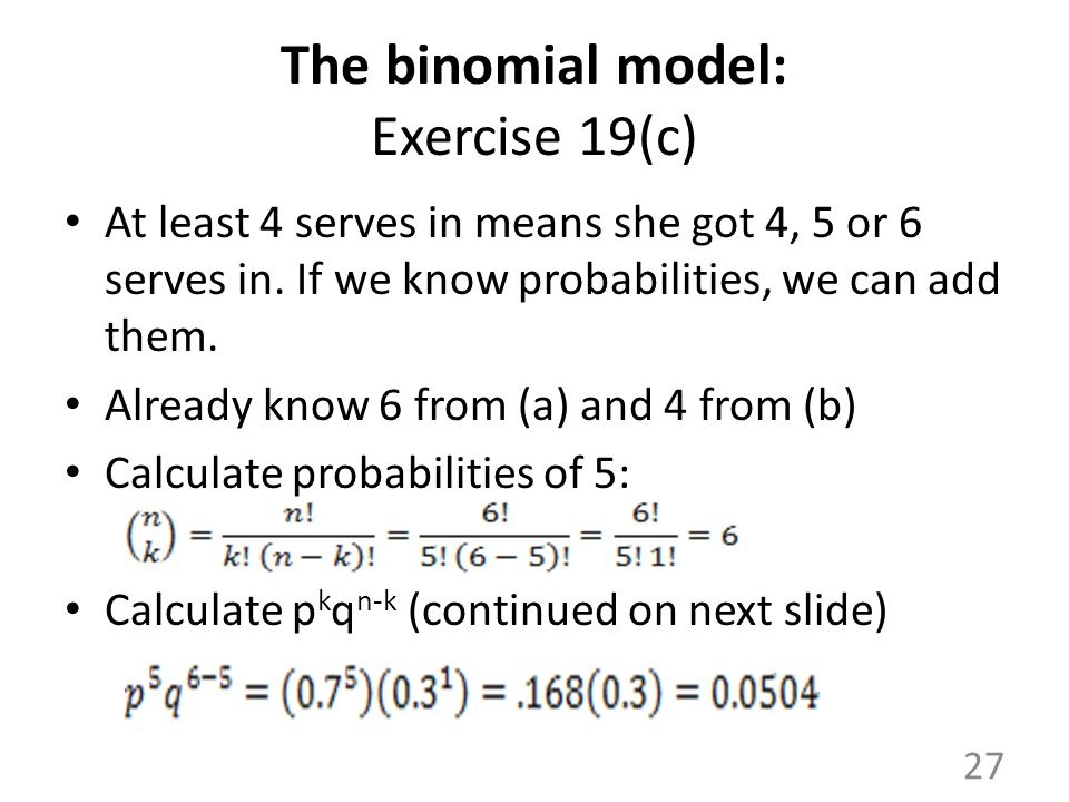 The binomial model: Exercise 19(c)