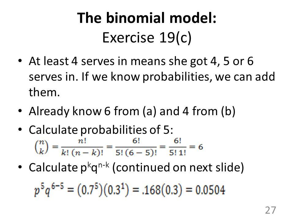 The binomial model: Exercise 19(c)