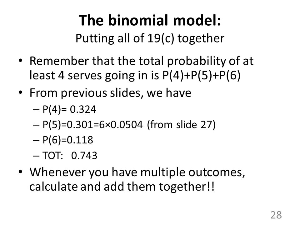 The binomial model: Putting all of 19(c) together