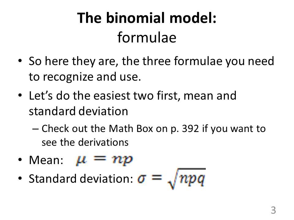 The binomial model: formulae