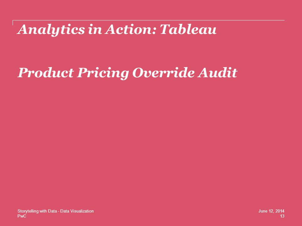Analytics in Action: Tableau Product Pricing Override Audit