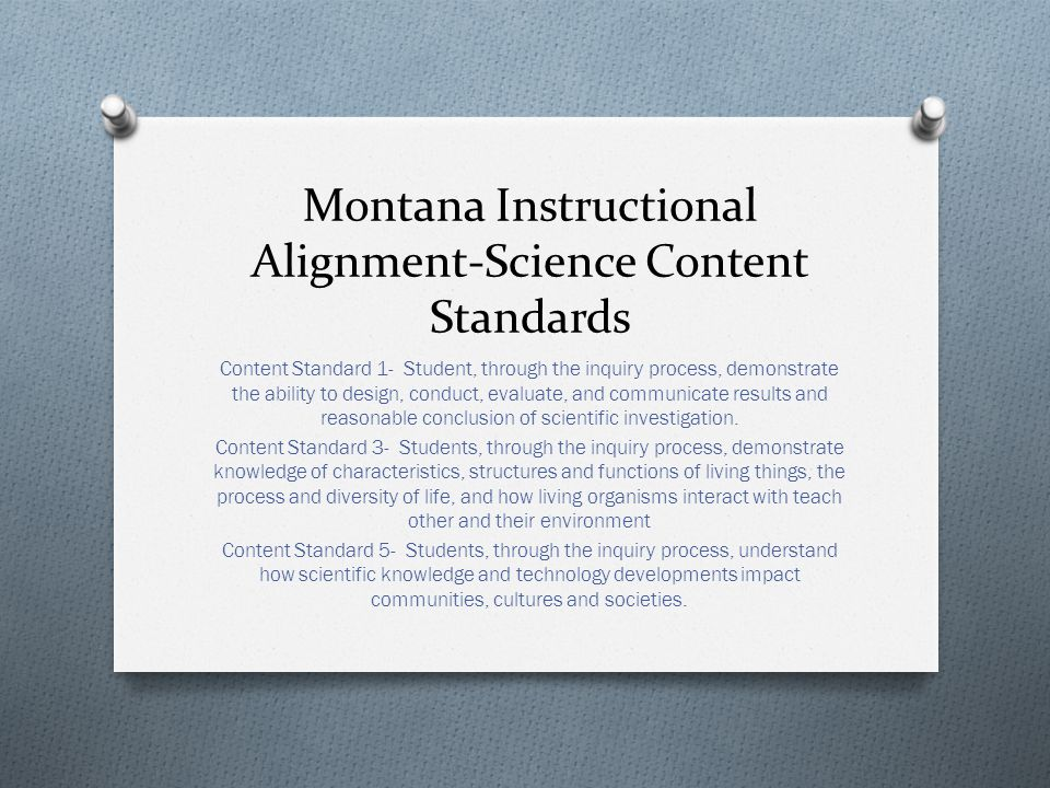 Montana Instructional Alignment-Science Content Standards