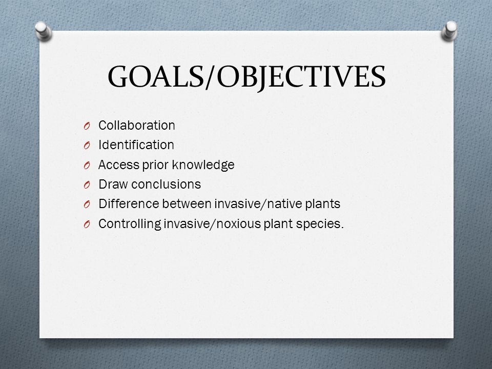 GOALS/OBJECTIVES Collaboration Identification Access prior knowledge