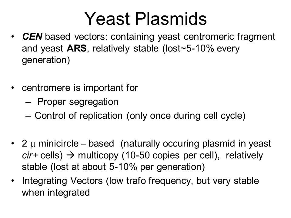 Yeast Plasmids CEN based vectors: containing yeast centromeric fragment and yeast ARS, relatively stable (lost~5-10% every generation)