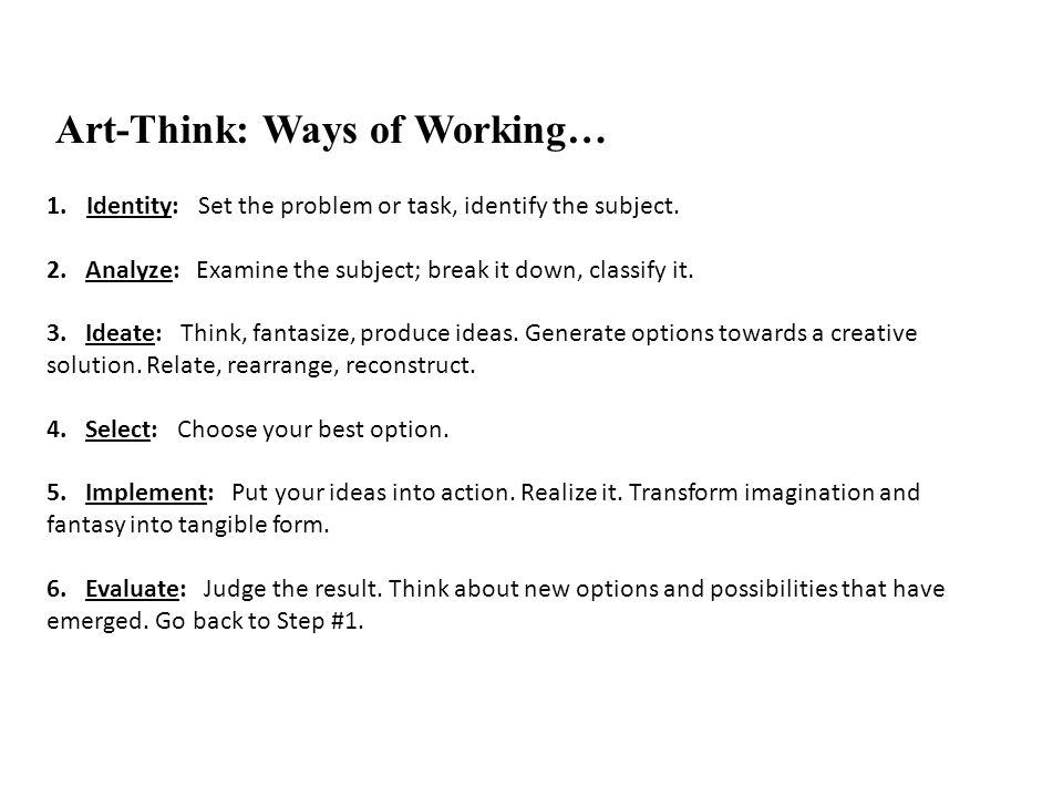 Art-Think: Ways of Working…