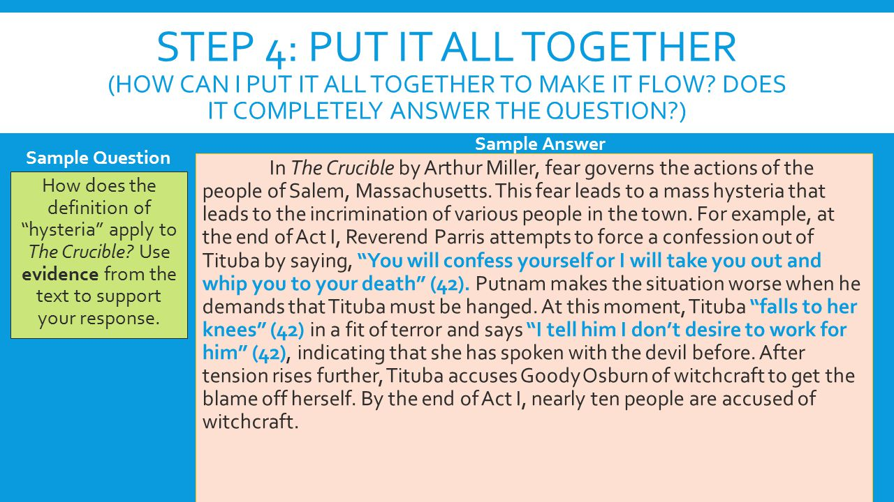 crucible questions complex all acts Crucible questions complex all acts  topics: the crucible,  the crucible discussion questions act one 1) the irony in this statement is purely the fact that the very corruption that the church was trying to avoid is exactly what is became overcome with the wrong and deceitful lies that the church wanted to evade became the basis for many.