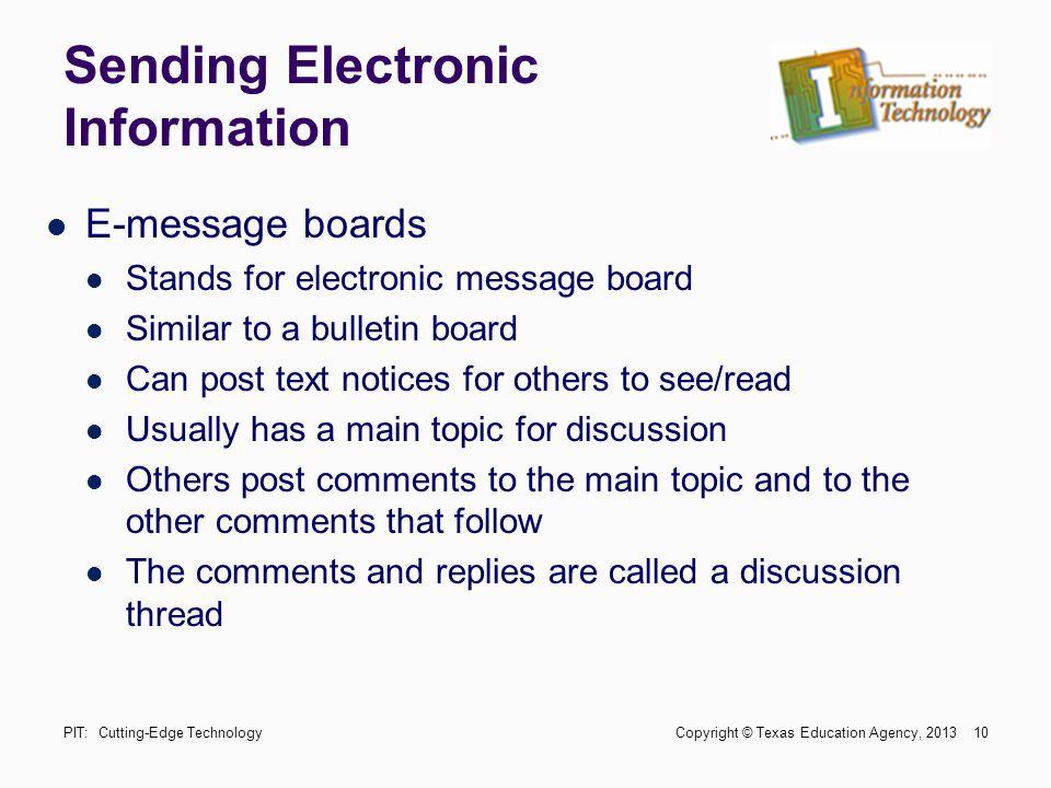 Sending Electronic Information