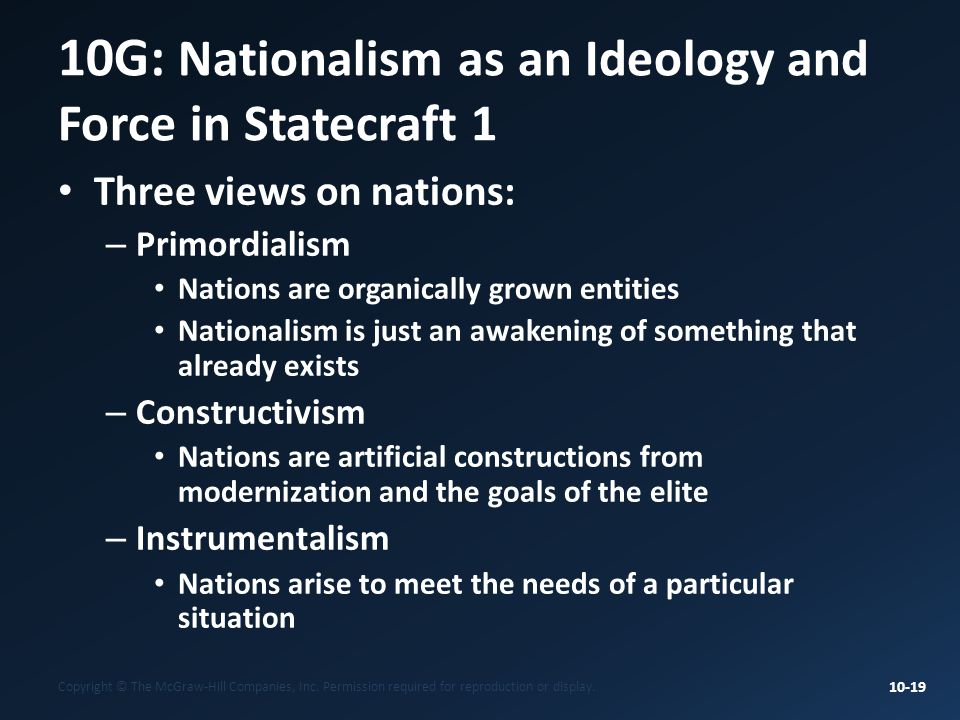 10G: Nationalism as an Ideology and Force in Statecraft 1