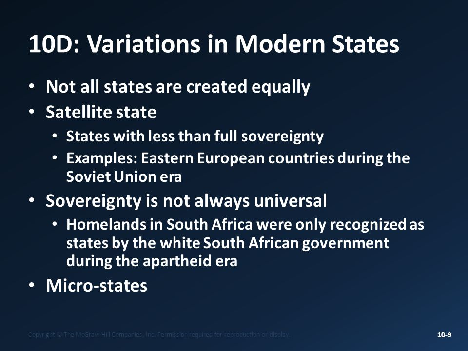 10D: Variations in Modern States
