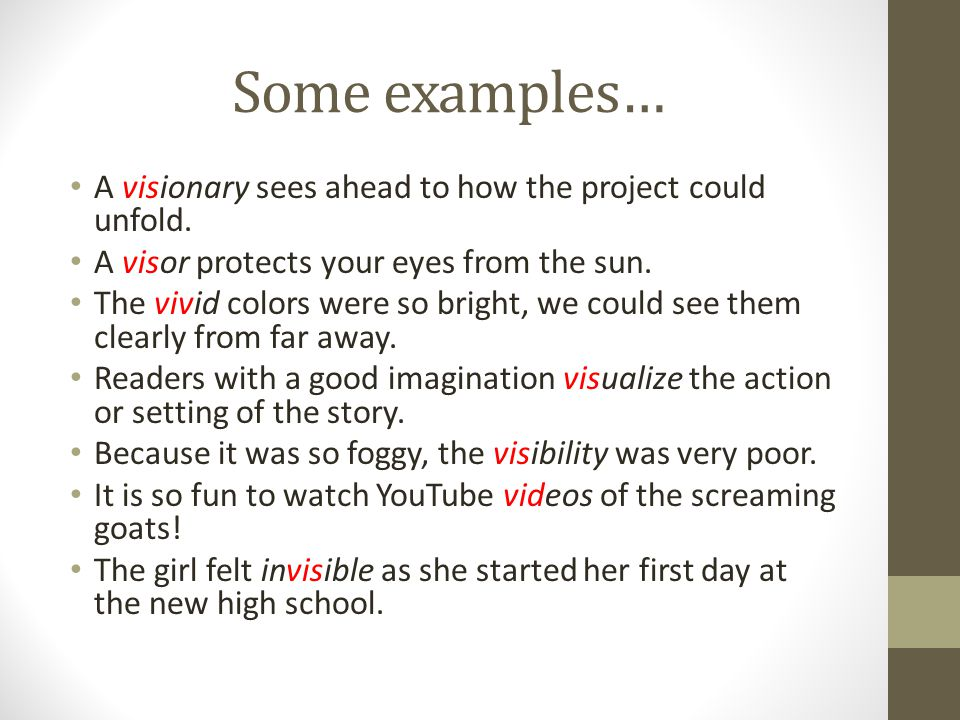 Some examples… A visionary sees ahead to how the project could unfold.