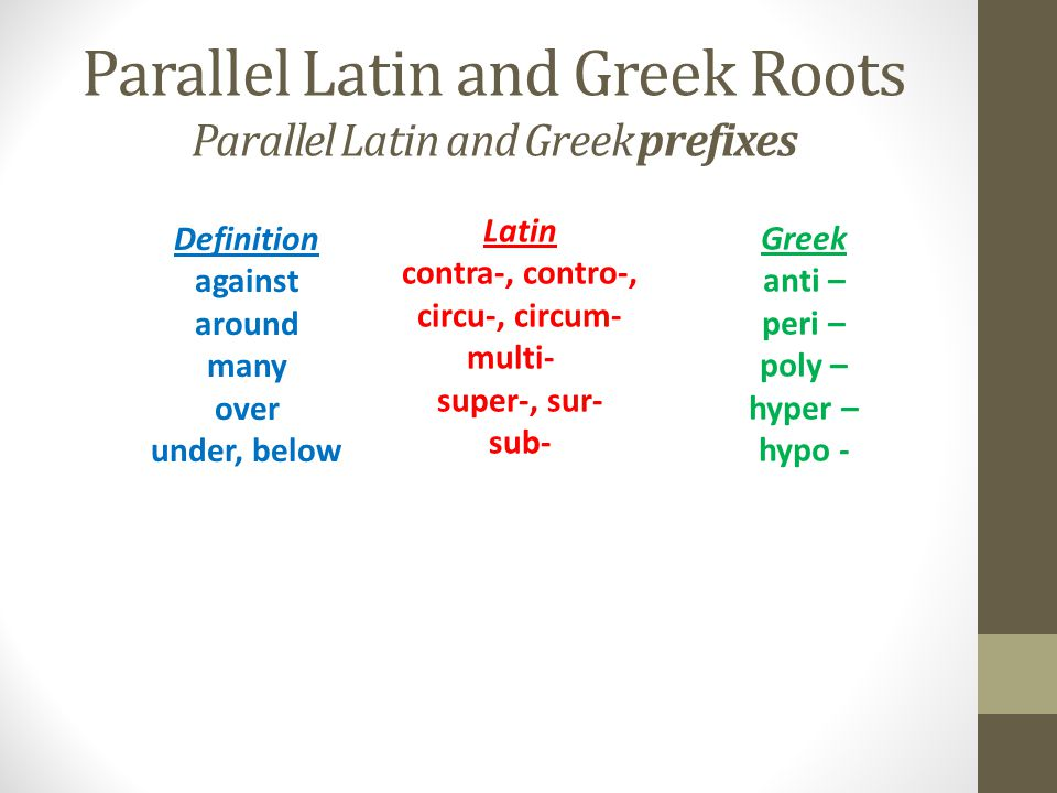 Parallel Latin and Greek Roots Parallel Latin and Greek prefixes