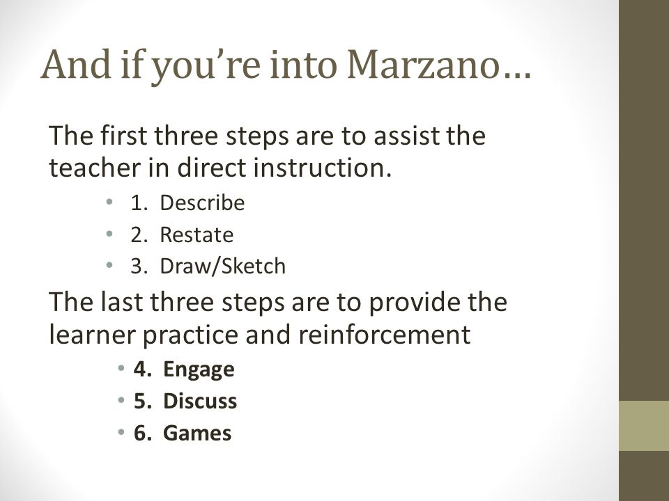 And if you're into Marzano…