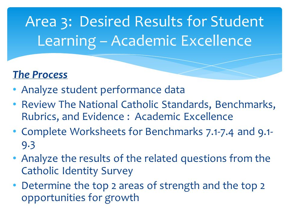 Area 3: Desired Results for Student Learning – Academic Excellence