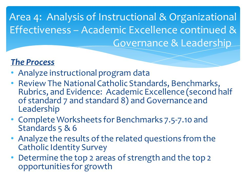 Area 4: Analysis of Instructional & Organizational Effectiveness – Academic Excellence continued & Governance & Leadership