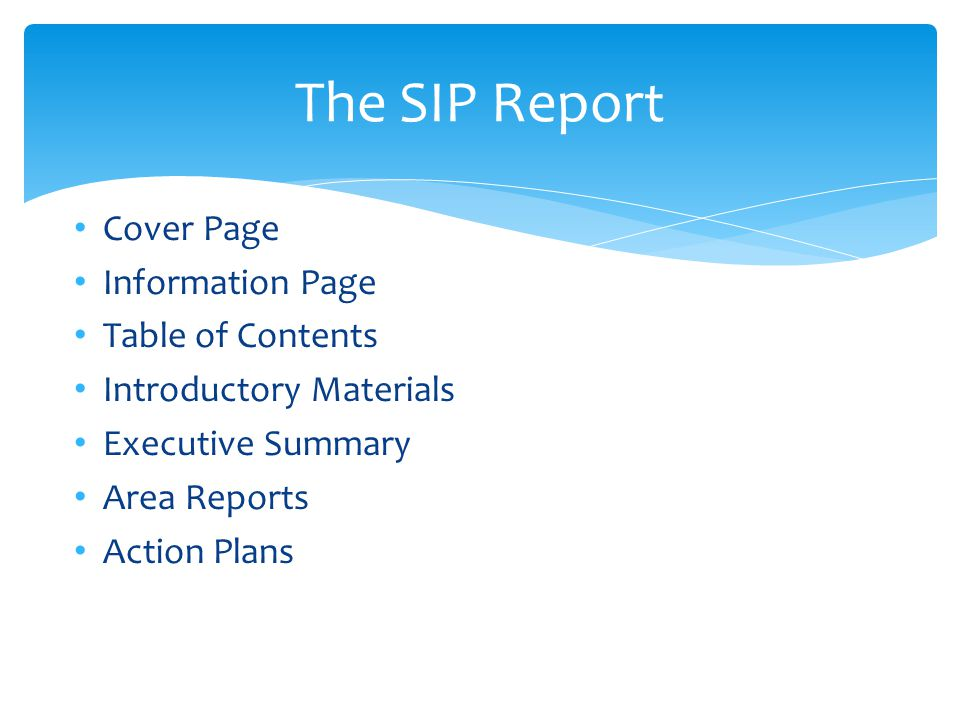 The SIP Report Cover Page Information Page Table of Contents