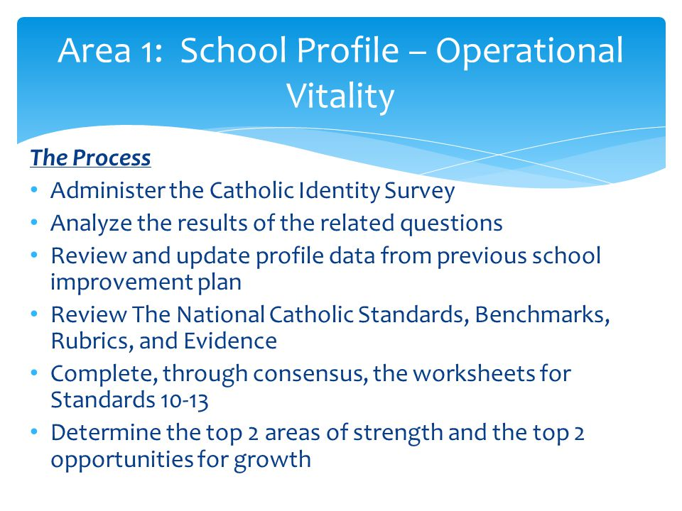 Area 1: School Profile – Operational Vitality
