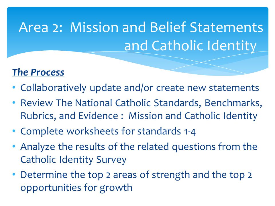 Area 2: Mission and Belief Statements and Catholic Identity