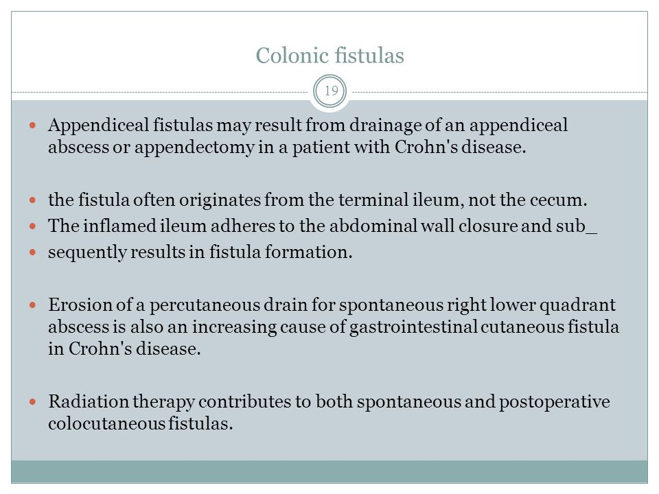 Colonic fistulas Appendiceal fistulas may result from drainage of an appendiceal abscess or appendectomy in a patient with Crohn s disease.