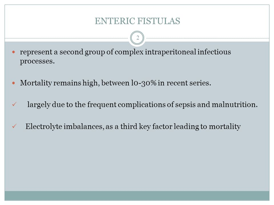 ENTERIC FISTULAS represent a second group of complex intraperitoneal infectious processes. Mortality remains high, between l0-30% in recent series.