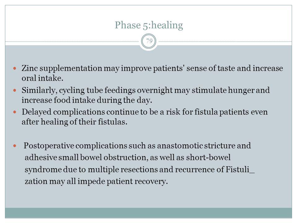 Phase 5:healing Zinc supplementation may improve patients sense of taste and increase oral intake.