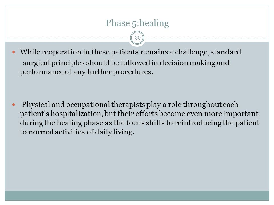 Phase 5:healing While reoperation in these patients remains a challenge, standard.