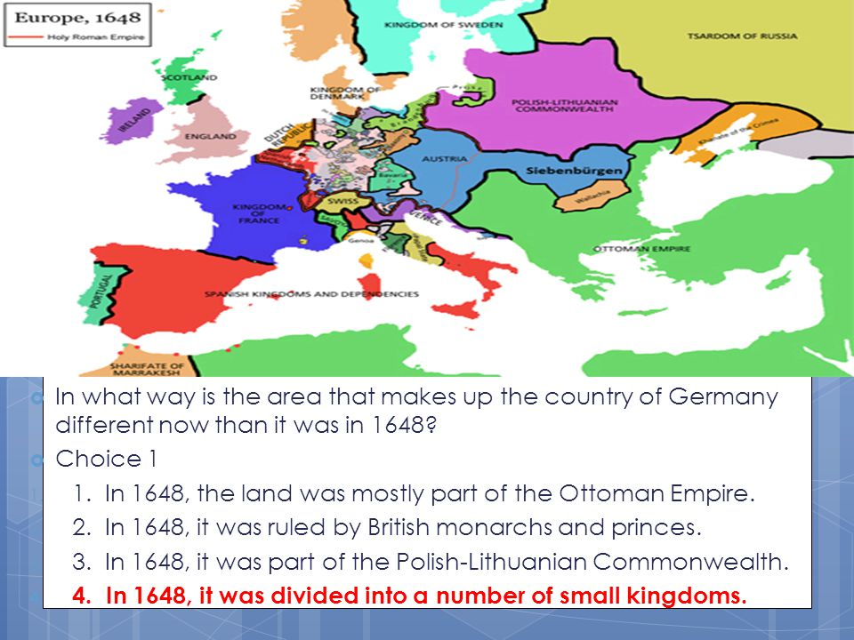 In what way is the area that makes up the country of Germany different now than it was in 1648